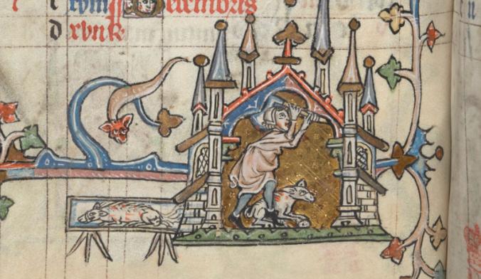 slaugtering a boar bl manuscript image